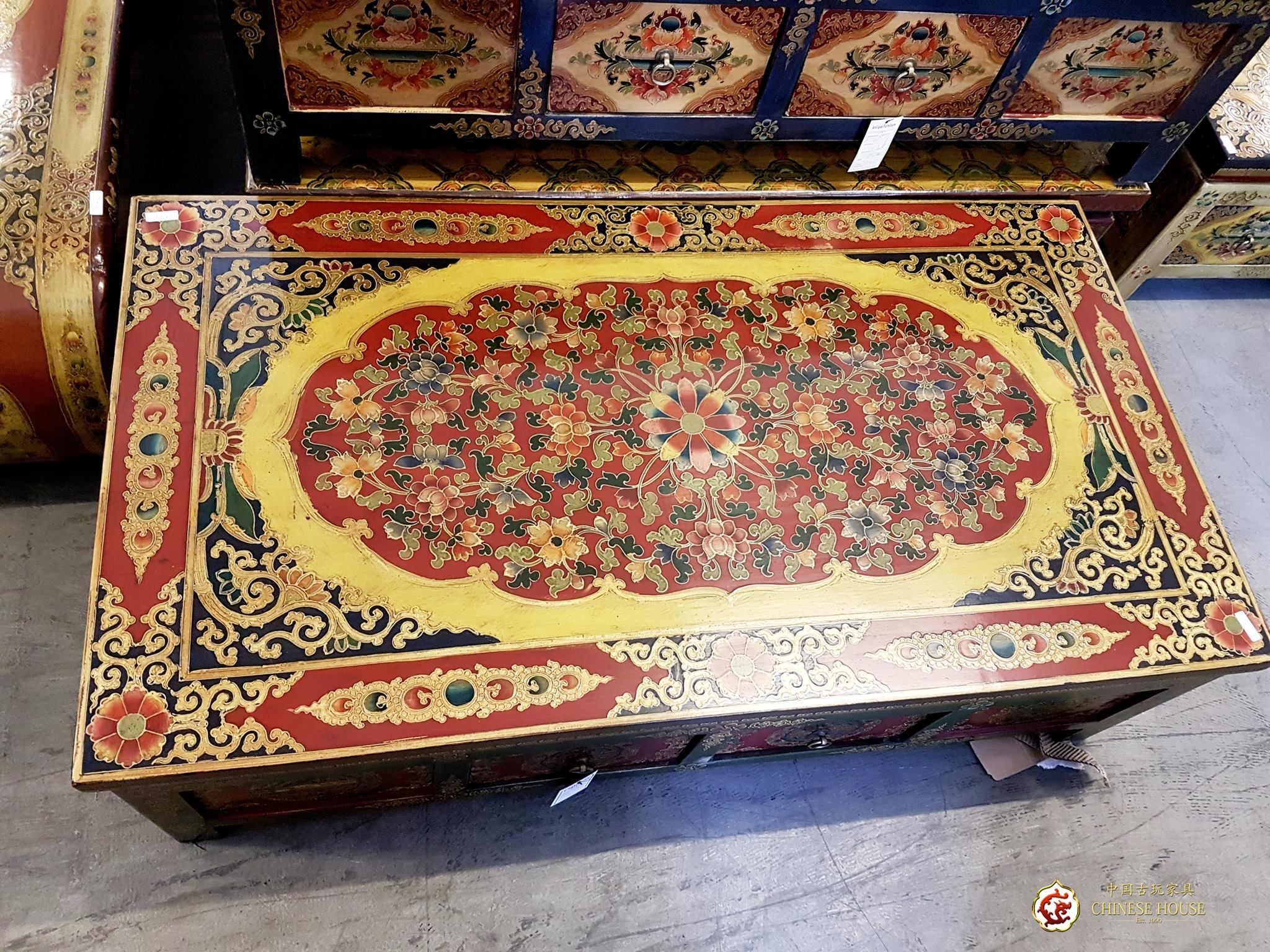 😍😍 โต๊ะกาแฟโบราณ ศิลปะทิเบต💙 ขนาด กว้าง 134 ลึก 73 สูง 40 ซม