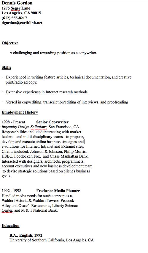 Copywriter Resume Sample Resumesdesign Sample Resume Templates Sample Resume Copywriting