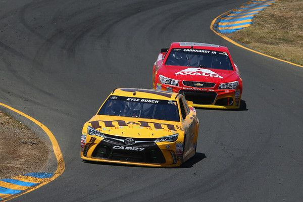 Dale Earnhardt Jr. Photos - Kyle Busch, driver of the #18 M&M's 75th Anniversary Toyota, leads Dale Earnhardt Jr, driver of the #88 Axalta Chevrolet, during the NASCAR Sprint Cup Series Toyota/Save Mart 350 at Sonoma Raceway on June 26, 2016 in Sonoma, California. - NASCAR Sprint Cup Series Toyota/Save Mart 350