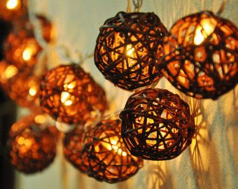 Handmade dark brown Rattan ball string lights for Patio Wedding     Handmade dark brown Rattan ball string lights for Patio Wedding Party and  Decoration  20 bulbs