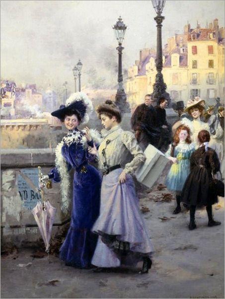 Shopping in Paris by Basile Lemeunier (French, 1852-1922)