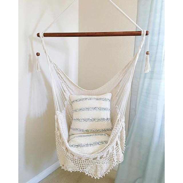Hanging Chair Sitting Hammock Porch Swing With Macrame Fringe Off-White  Organic Cotton Indoor/ - Hanging Hammock Chair With Macrame **Solid Color** Swing Chair