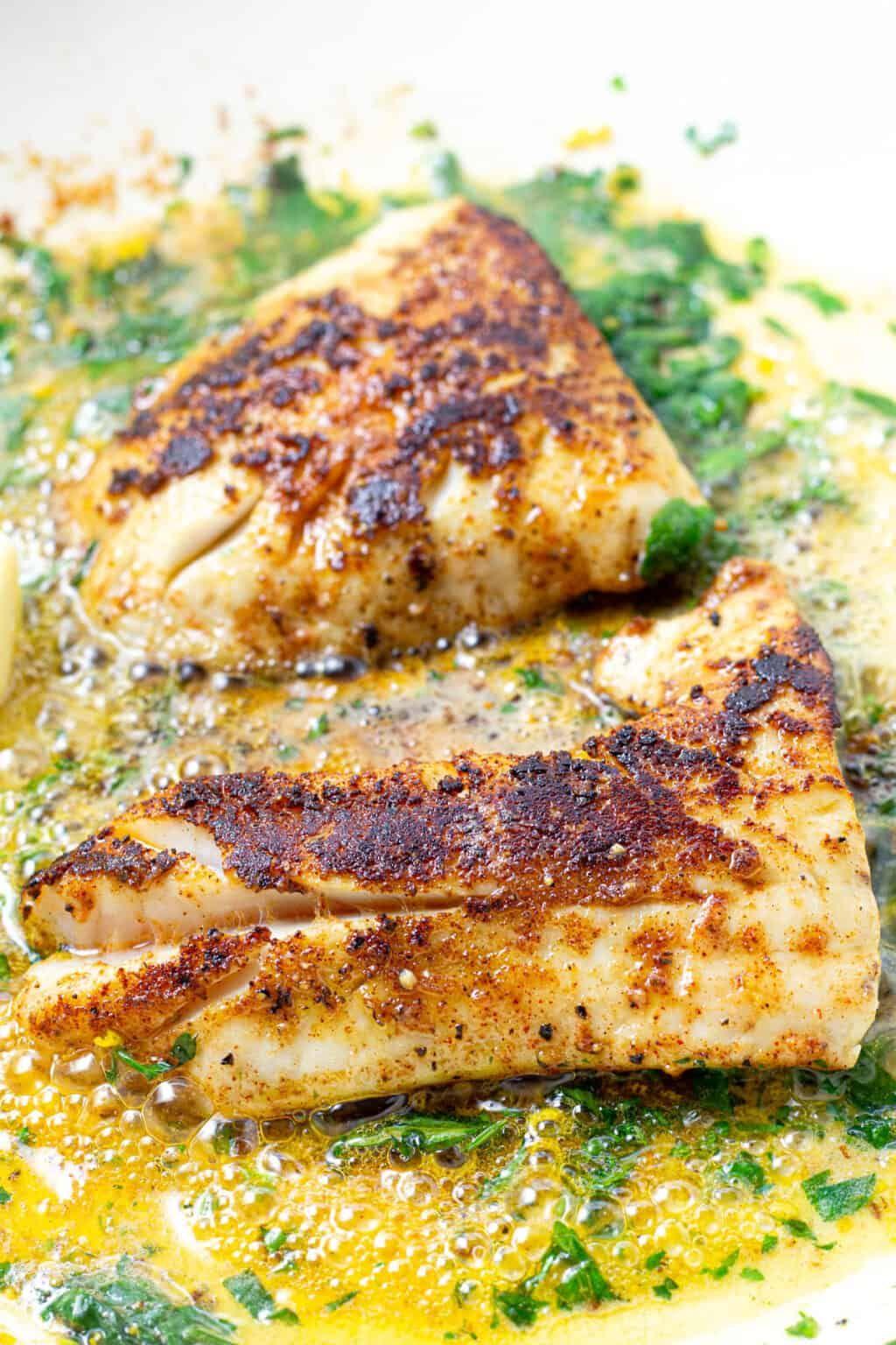 Pan Fried Lemon Butter Cod Recipe Cod Recipes Healthy Fried Cod Fish Recipes Seared Cod Recipe