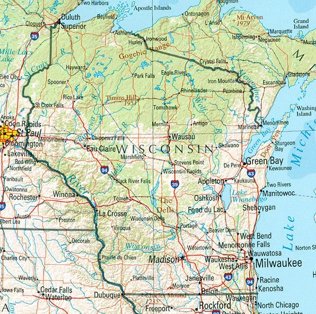 Homeschooling In Wisconsin Destinations And Road Trips: Wisconsin Road Map At Slyspyder.com