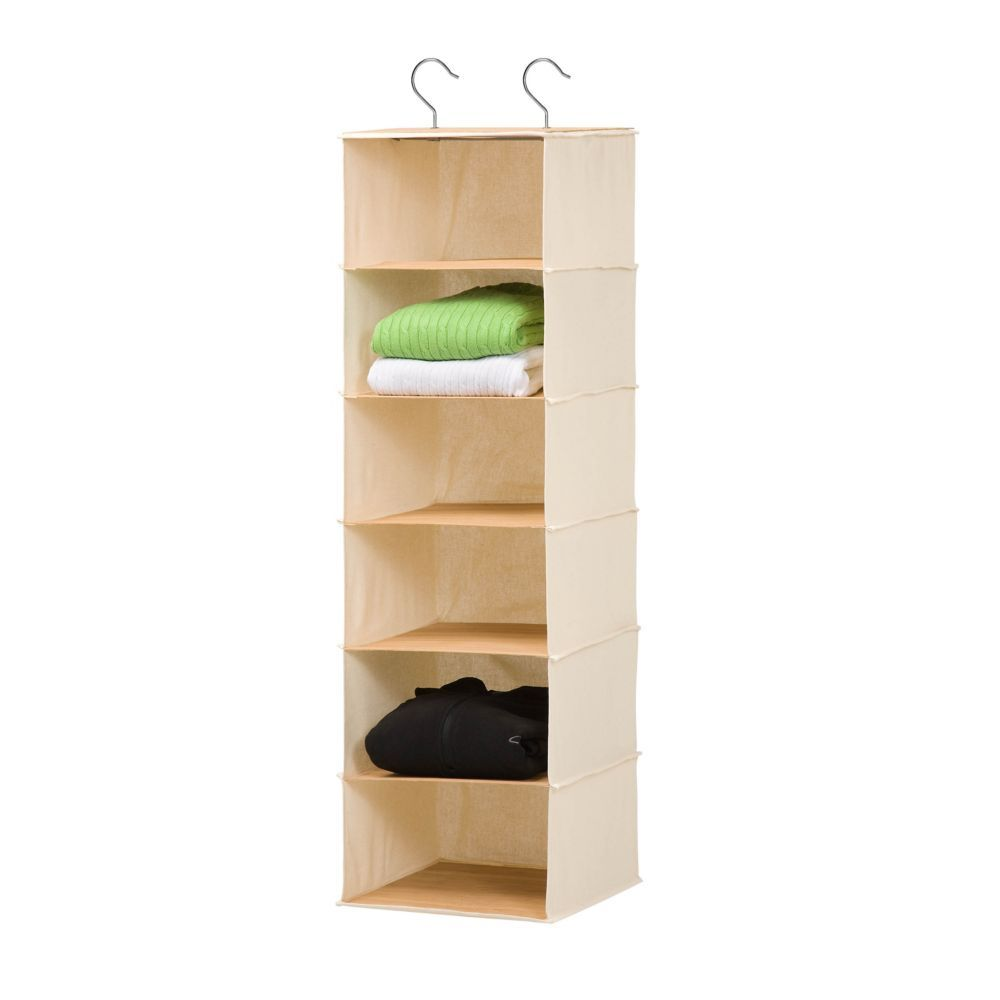 Hanging Organizer In Canvas And Bamboo Hanging Closet Organizer Hanging Closet Hanging Organizer