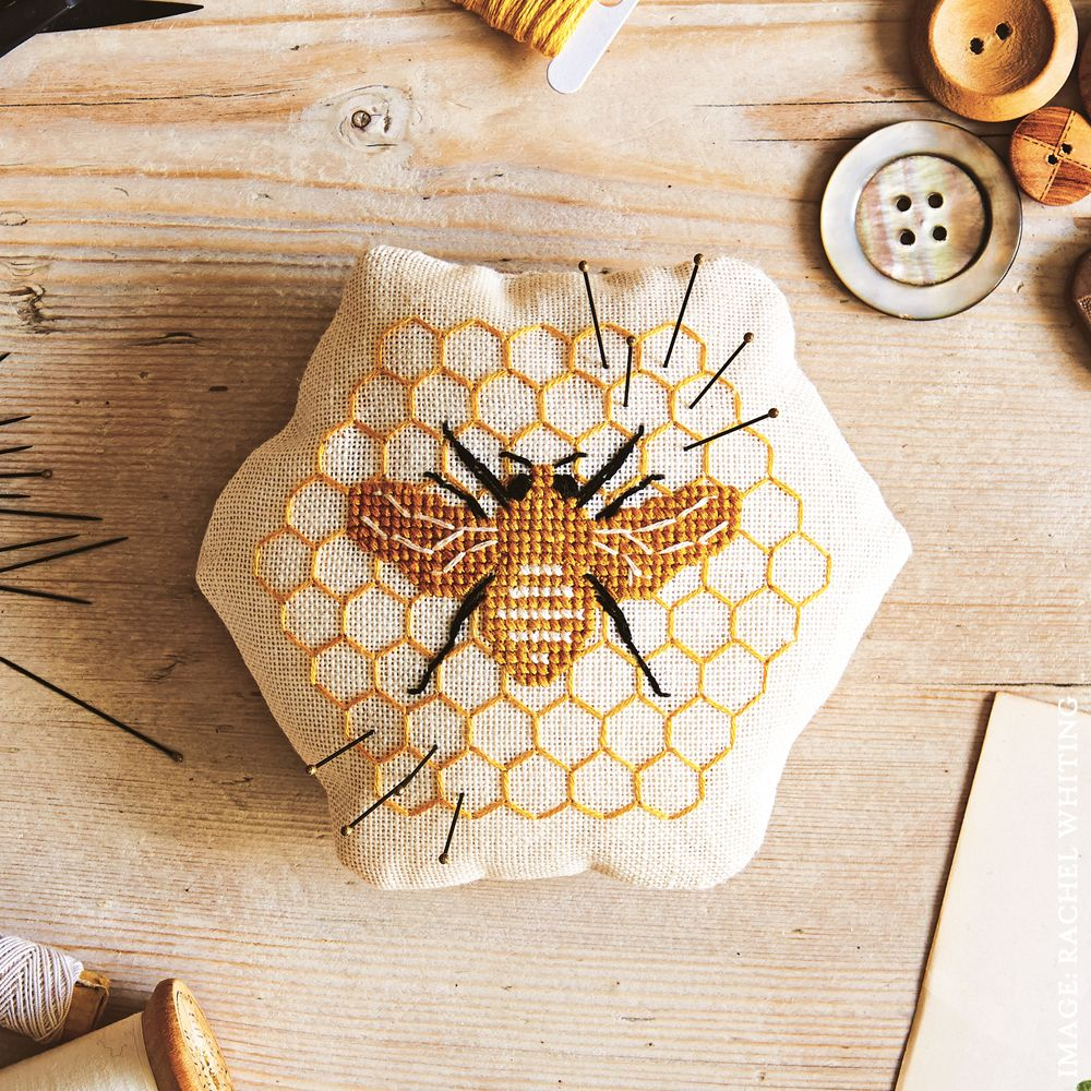 image of honey bee pin cushion supply kit only eep embroidery