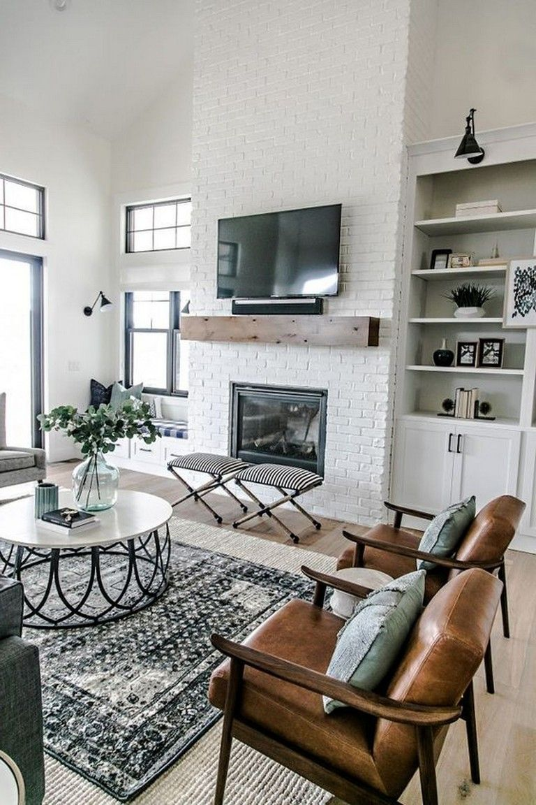 40+ Cozy Modern Farmhouse Apartment Living Room Decorating Ideas #modernfarmhouselivingroom