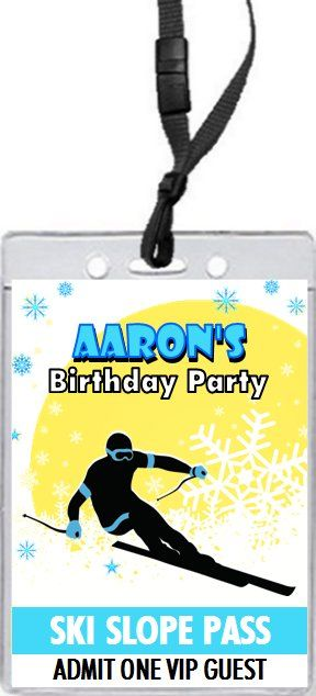 Snow Ski Slope VIP Pass Party Invitations ski party Pinterest