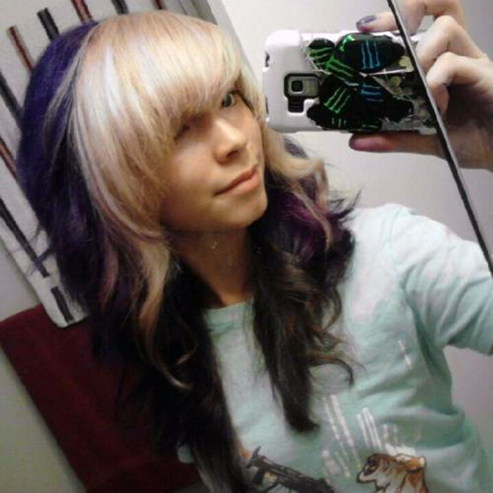 Purple Hair Blonde Bangs By