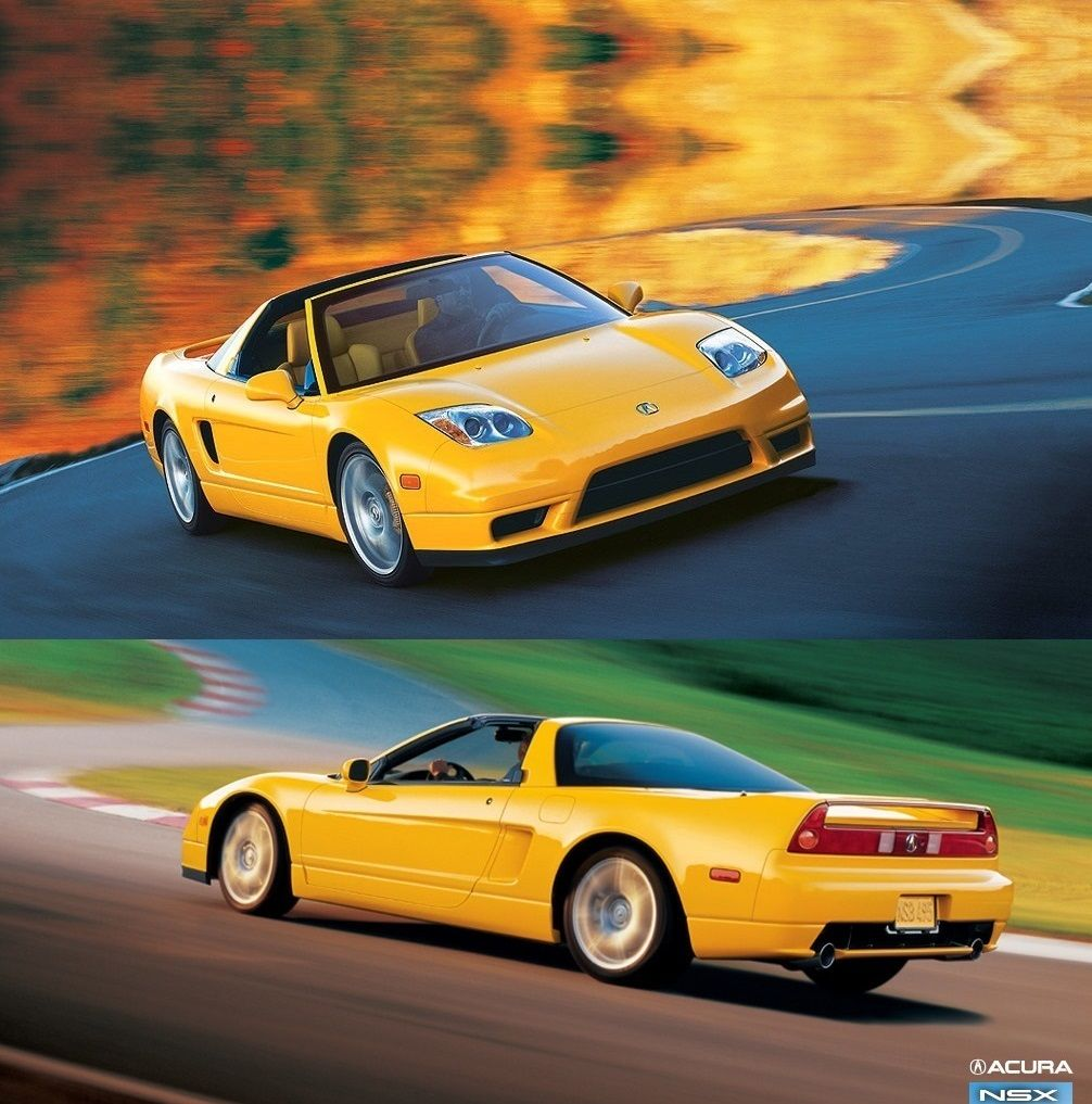 A Banana Yellow Honda/Acura NSX Sports Car