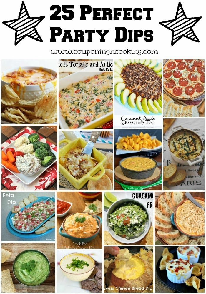 25 Perfect Party Dips ~  >Chicken Fajita Queso Dip >Creamy Snickers Dip >Pepperoni Pizza Dip >Bacon Chicken Jalapeno Dip >Nutella Greek Yogurt Dip >Spring Vegetable & Goat Cheese Dip & MORE!  Recipe Links @: http://www.couponingncooking.com/2014/01/25-perfect-party-dips.html