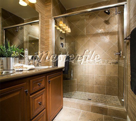 Elegant Bathroom Shower Curtains: Elegant Bathroom With Large Tiled Shower