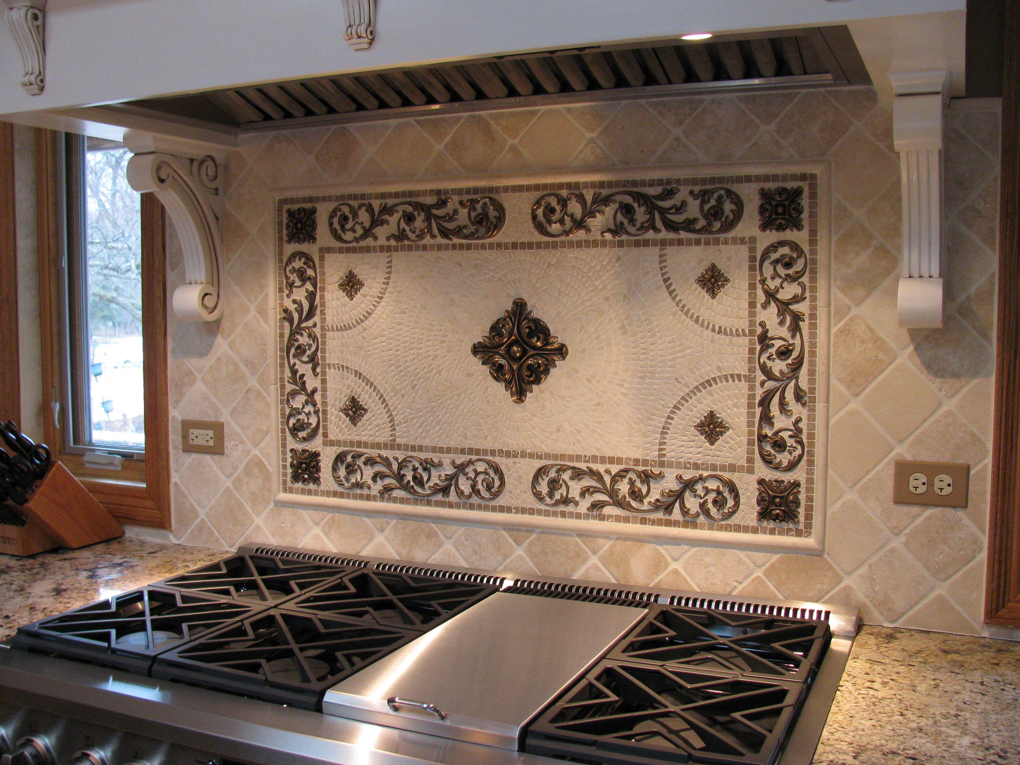 6 Custom Bellagio Scroll Mosaic Backsplash Landmark Metalcoat