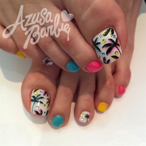 Tropical Toes By Azusa From Nail Art Gallery Summer Toe Nails Cute Toe Nails Toe Nail Art