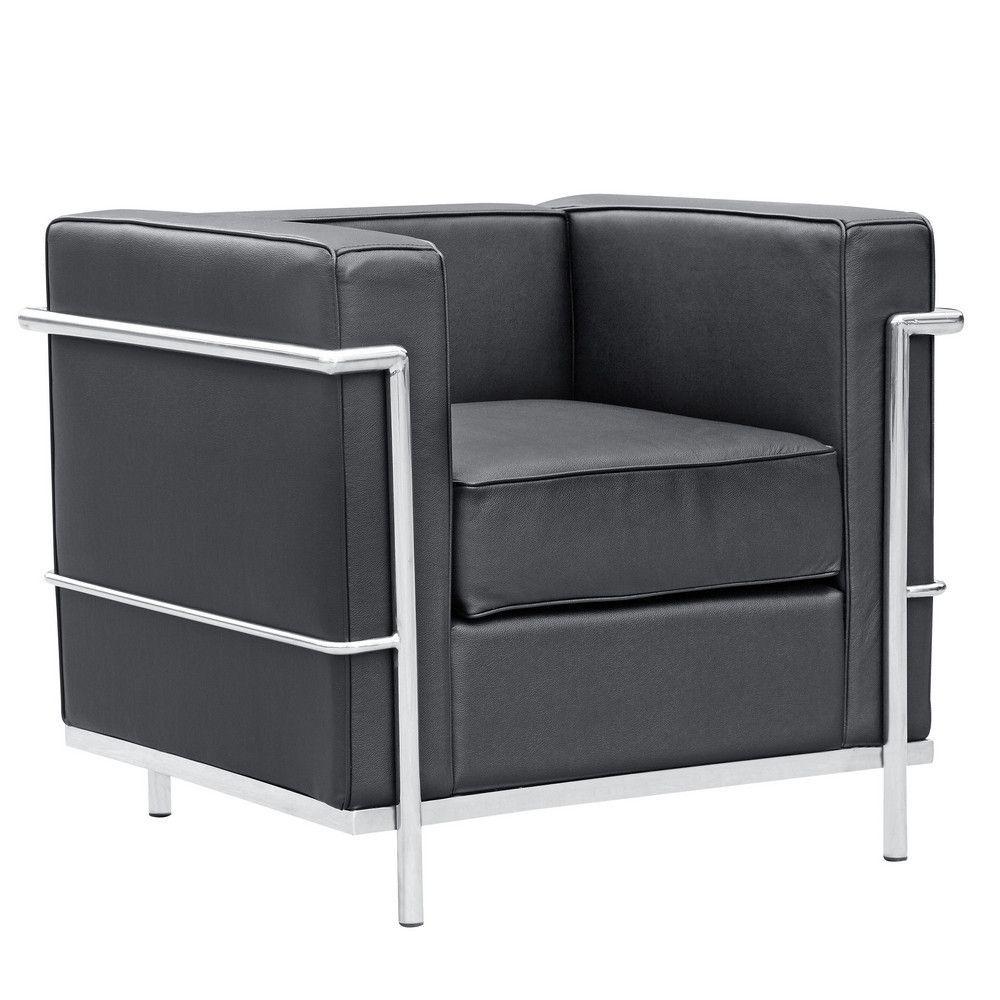 Cube Le Corbusier Lc2 Style Petit Chair Black Leather Huis Stijl