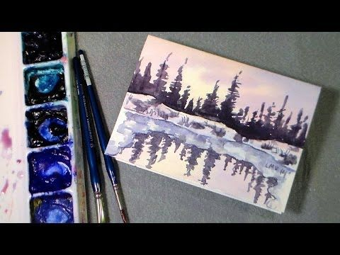How To Paint Mountains Landscape Watercolor Painting Easy