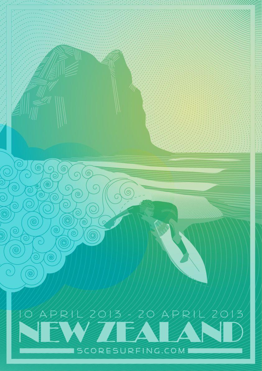 Design poster new - Score Surfing Poster New Zealand Bruce Doscher