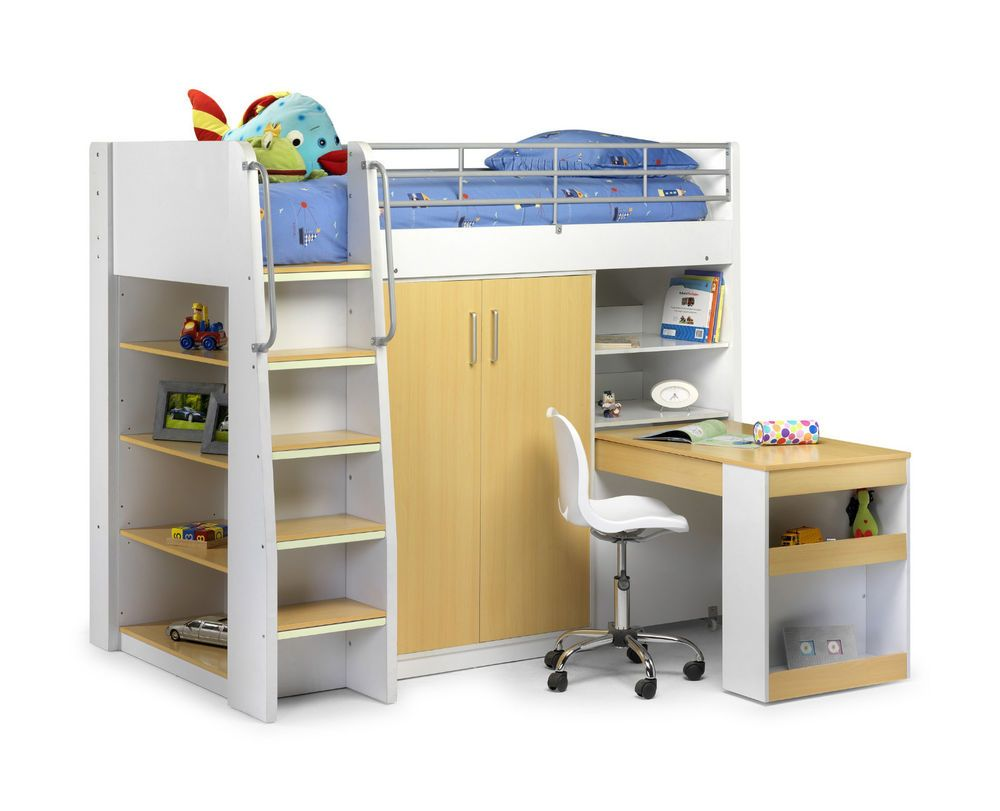 Childrens Storage Beds For Small Rooms julian bowen mika white / maple high sleeper storage bed. with