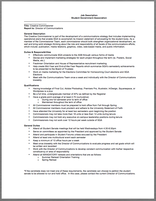 Student Government Association Job Description Job Description