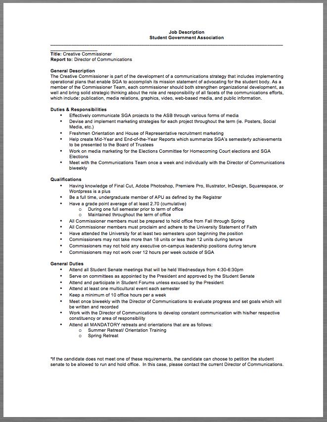 student government association job description job description