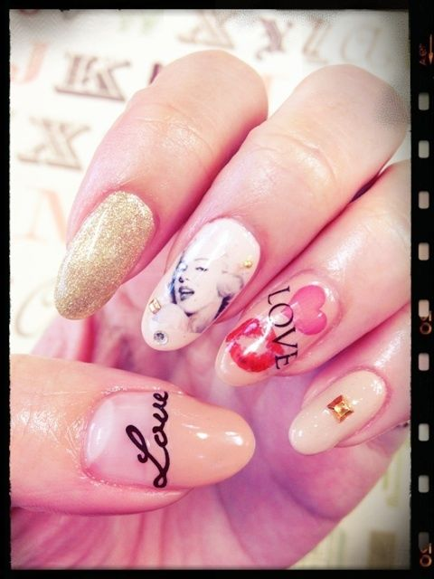 Japanese Nail Art Manicure (Love, Glitter, Marilyn Monroe, Lips ...