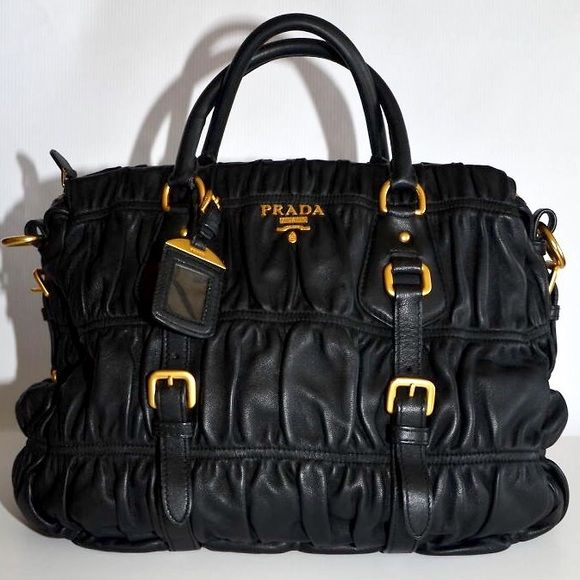 15e9a47a2a Couture Bags · Prada Gaufre Napa Leather Tote - Black Beyond gorgeous authentic  Prada Napa leather Gaufre tote.