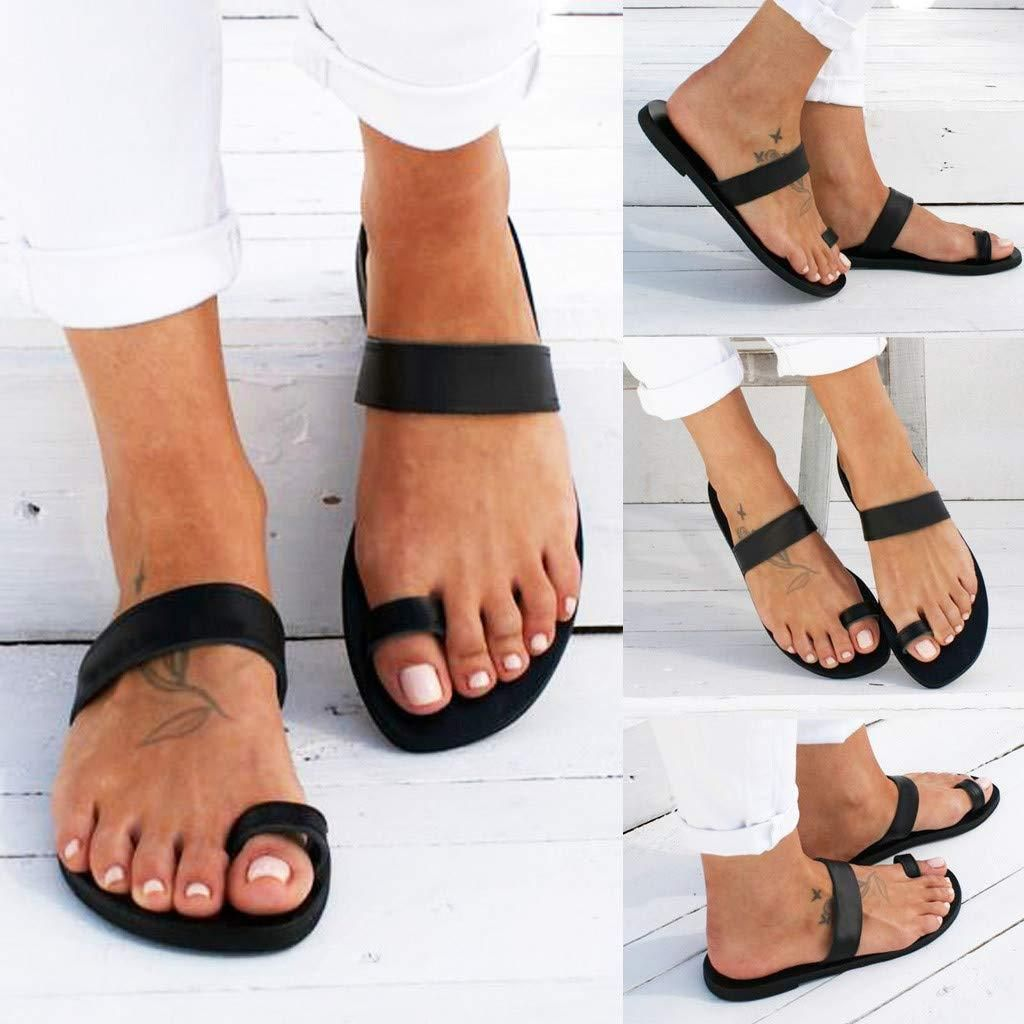 Womens Ladies Toe Ring Flats Shoes Summer Casual Buckle Sandals Espadrilles Size