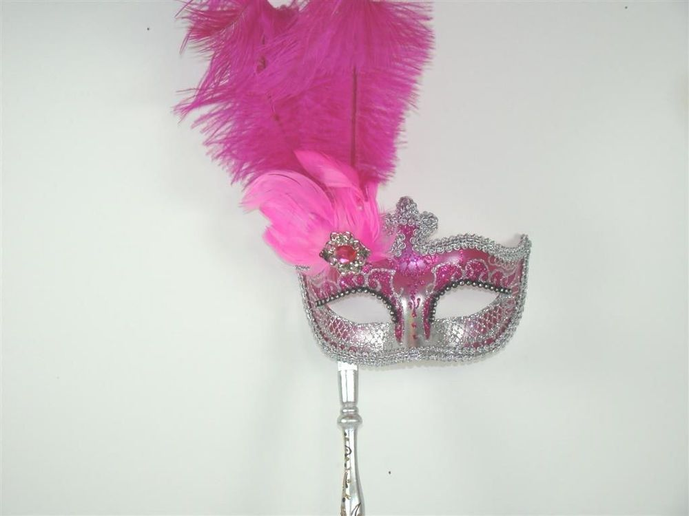 HOT PINK MASQUERADE on a Stick Venetian Mask HOT PINK & SILVER Hand ...