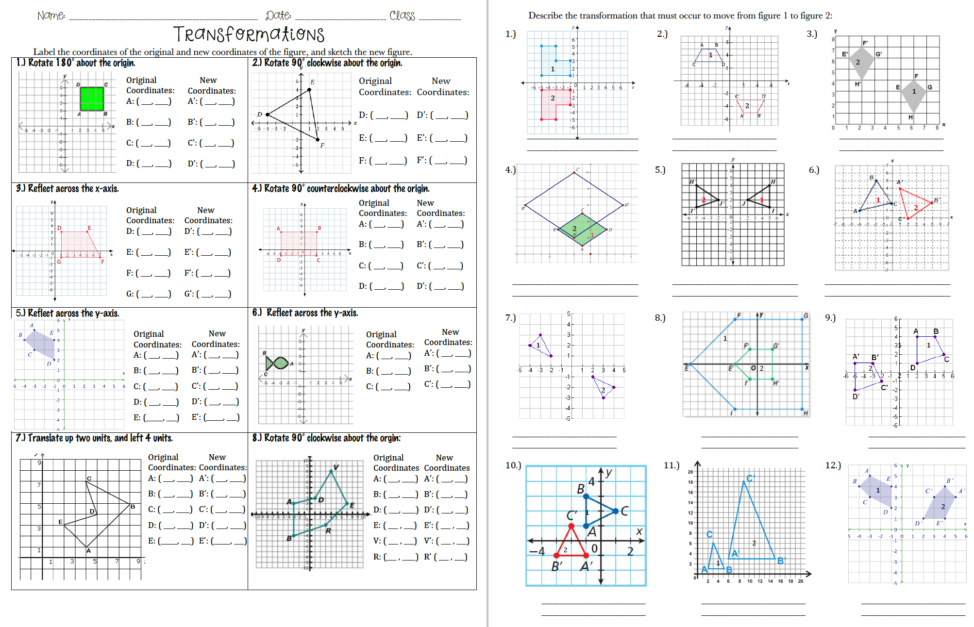 Transformations Practice Packet 8th Grade Math