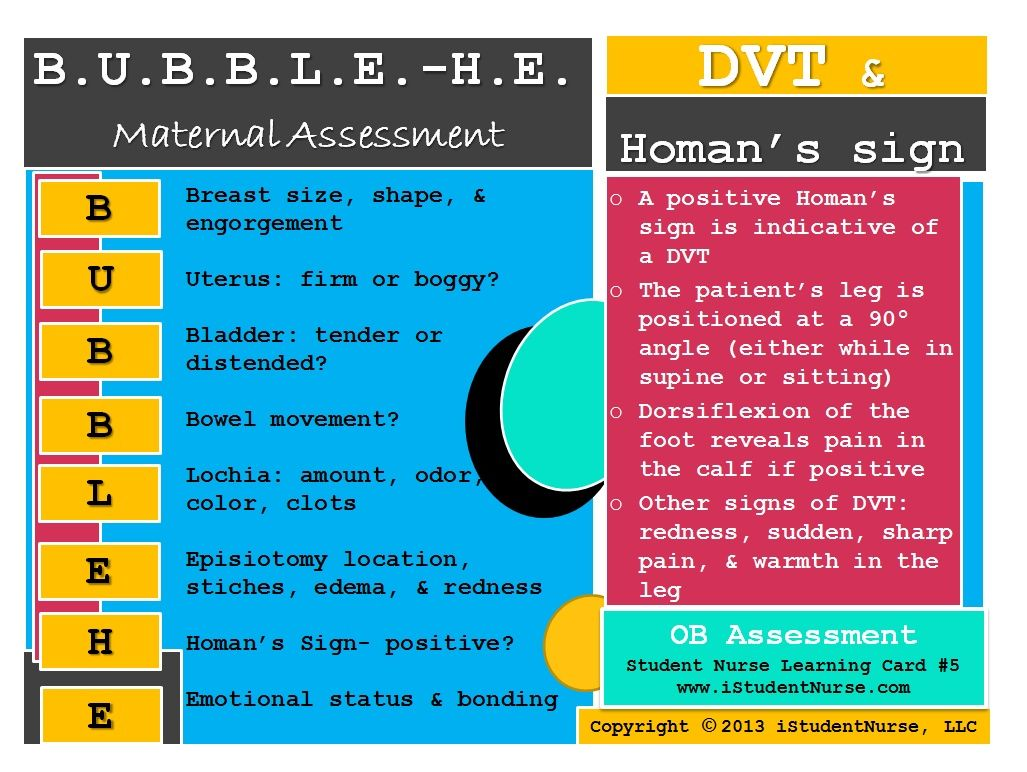 BUBBLE-HE New Mamma Card: A great method for assessing a postpartum women  using a systematic approach @iStudentNurse #NurseHacks #OB #Nursing