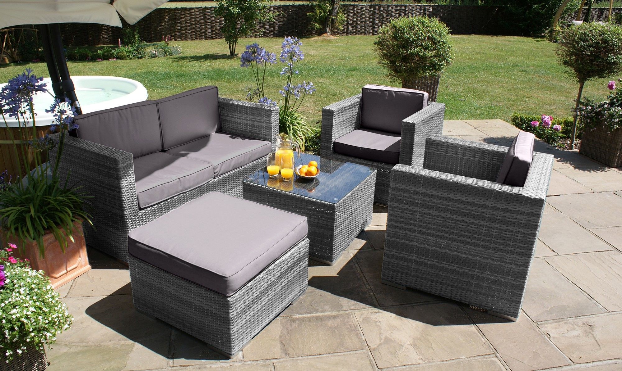 Rattan Garden Furniture Grey mauritius - corner sofa dining table - grey rattan - fishpools