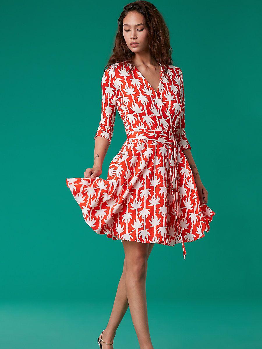 b91013aec9580 New Fashions by Diane von Furstenberg. Irina Silk Jersey Wrap Dress in Palm  Lines Medium Vermillion