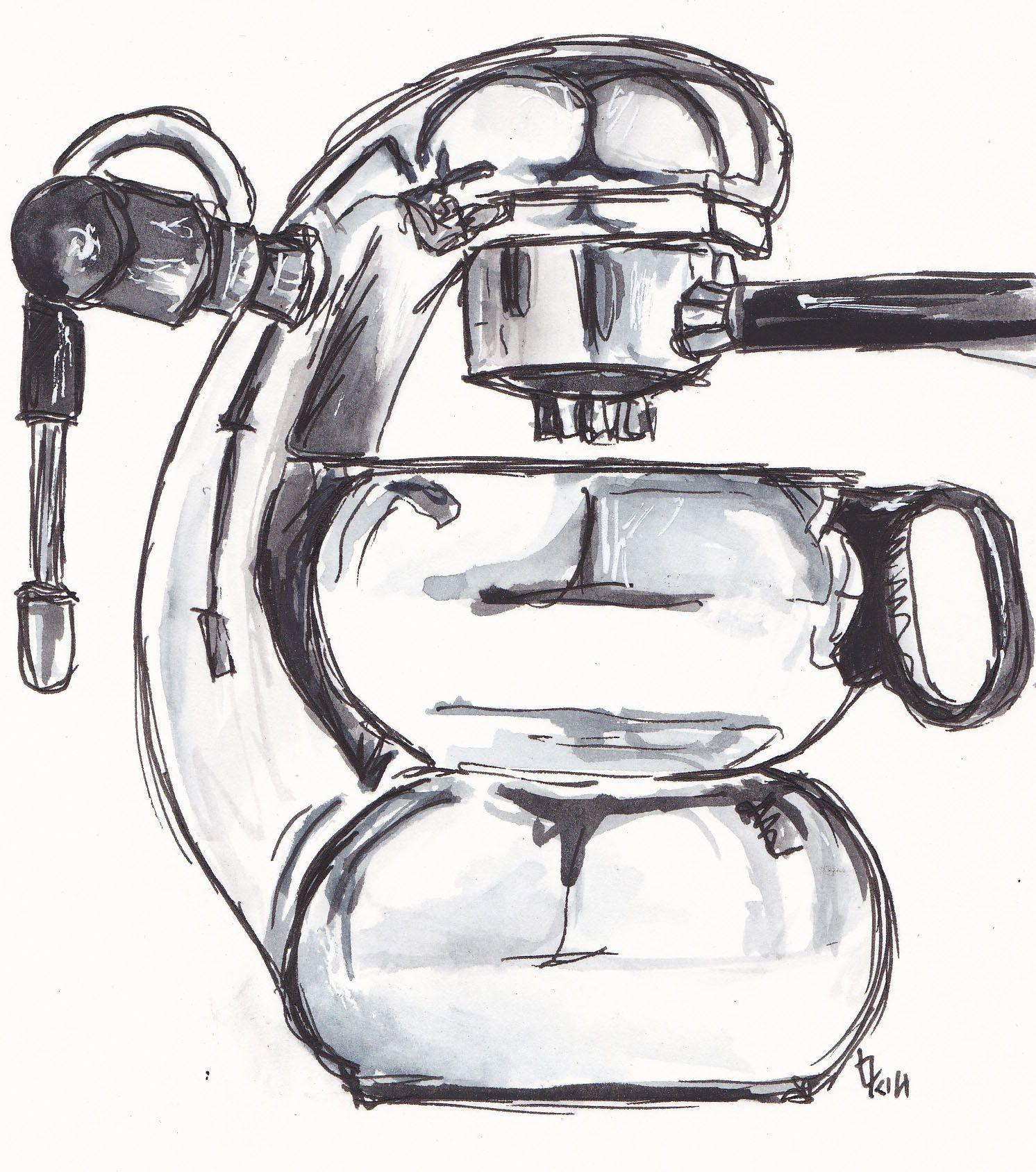 coffee maker ... black and white... http://traceyfletcherking.blogspot.com.au/