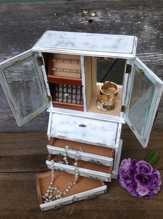 Rustic Jewelry Armoire Tall Large White Rustic Jewelry Box Shabby Vintage Chic Wood