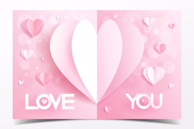 Download Pink Valentine Card Template Decorated With Heart Paper Craft Style For Free In 2020 Valentine Card Template Hearts Paper Crafts Pink Valentine Card