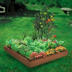 Walmart Suncast 4 Panel Raised Garden Bed Kit Raised Garden Garden Bed Kits Garden Kits