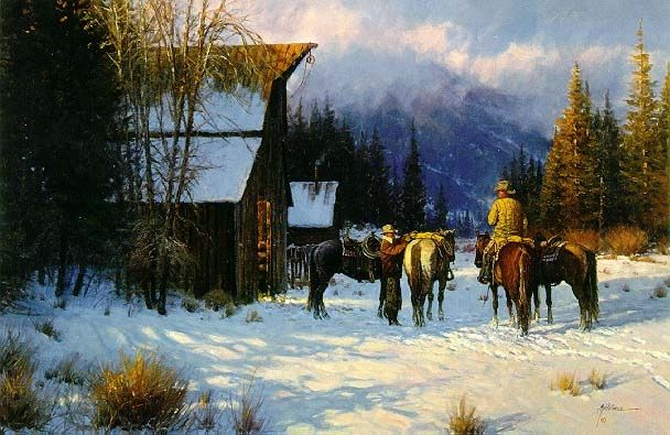 Vintage Folk Outsider Painting Western Mountain Aspen Pine