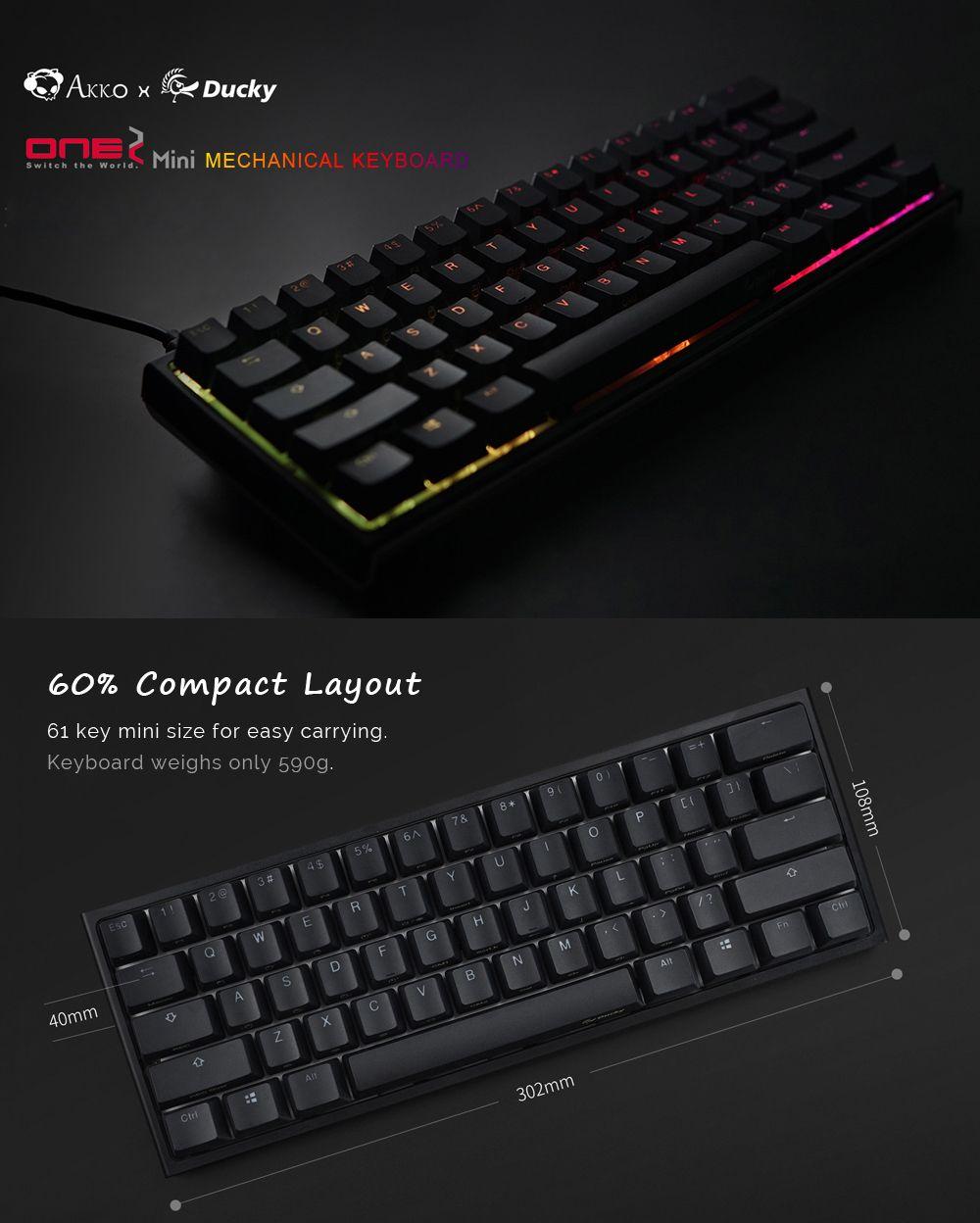 Akko X Ducky One 2 - Mini RGB Cherry MX Switch PBT Keycap 60% RGB
