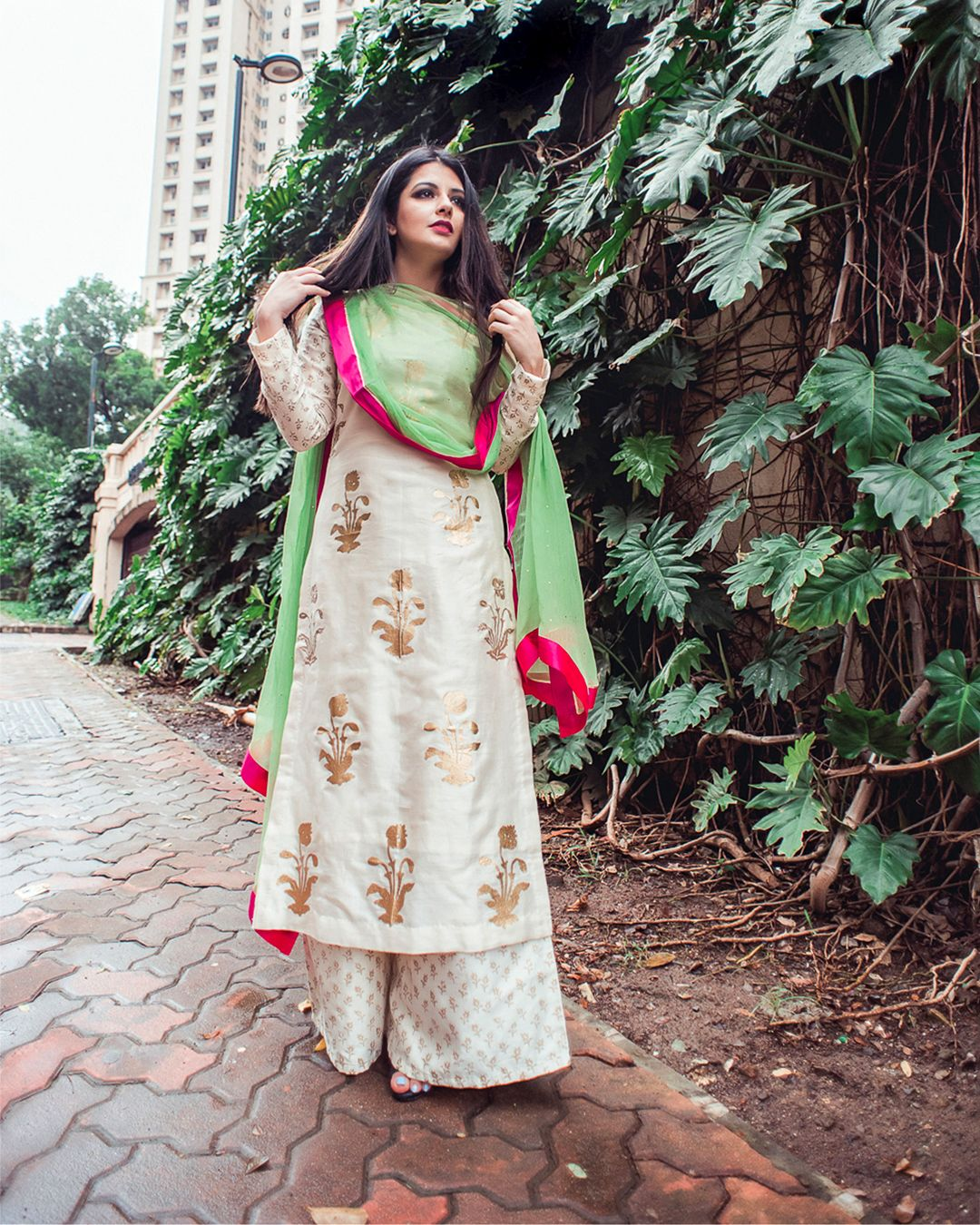 425c3260964 Rich cream Chanderi kurta with Mughal bootah block print paired with flared  palazzo