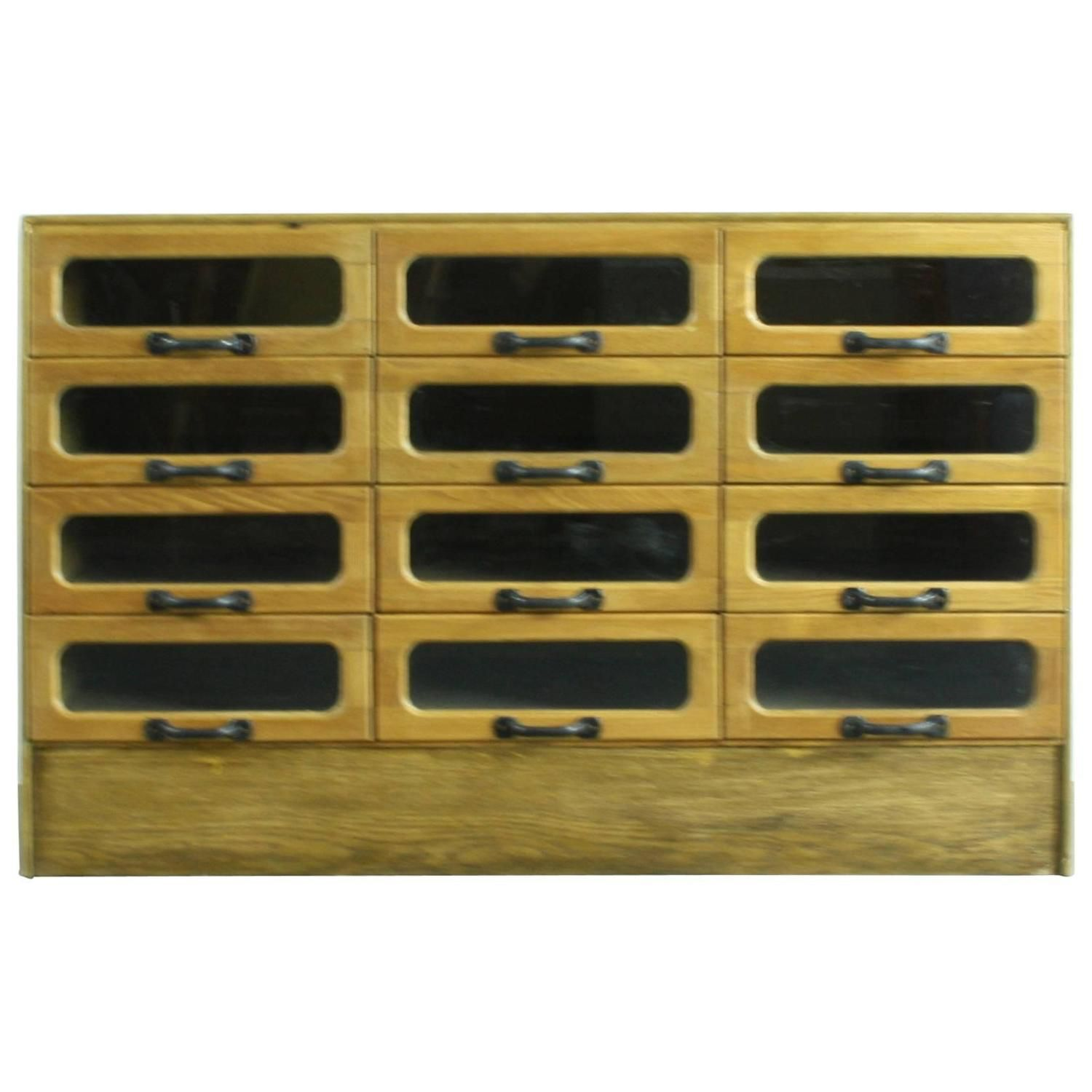 Early 20th Century British 12-Drawer Haberdashery Cabinet | See more antique and modern Cabinets at https://www.1stdibs.com/furniture/storage-case-pieces/cabinets