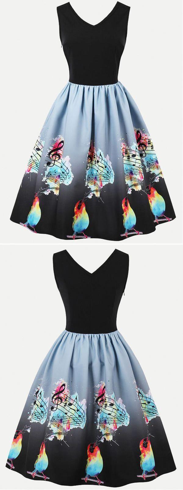 Vinfemass Retro Vneck Notes And Birds Printed Plus Size Skater Dress