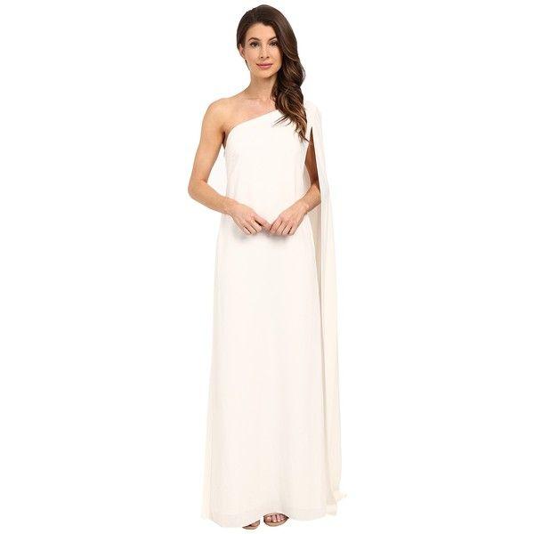 Jill Stuart One Shoulder Cape 2 Ply Crepe Gown Off White