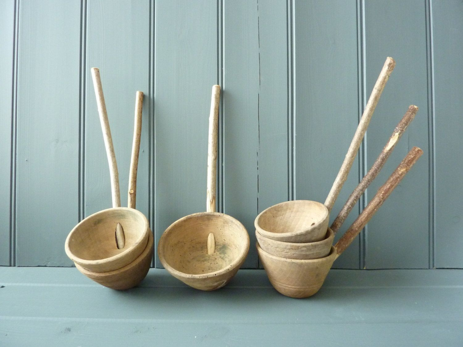 Vintage French kitchen utensils, hand carved wooden ladles ...