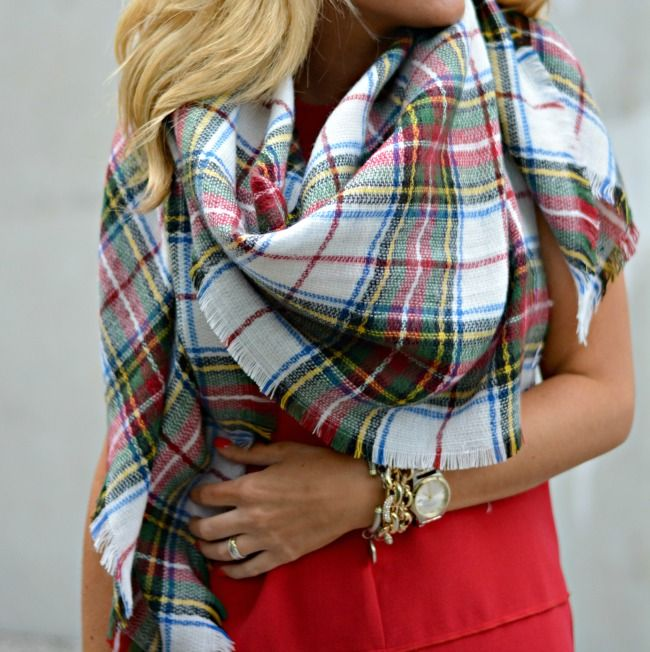 christmas party outfit idea red dress with plaid blanket scarf and leopard handbag with leopard heels - Christmas Plaid Scarf