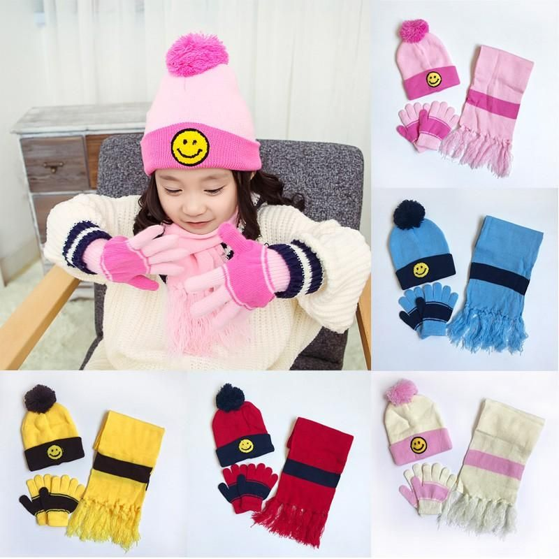 6a5f3332711 Infant Baby Winter Warm 3pcs Hat Scarf Gloves Set Knitted Beanie Ball Cap  Cute Kids Hats For Lucky Child 1-5Y