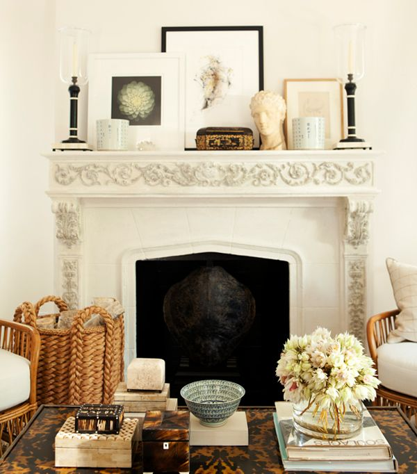 Gallery For Website Mark D Sikes House Beautiful living room fireplace white natural Decor IdeasDecorating