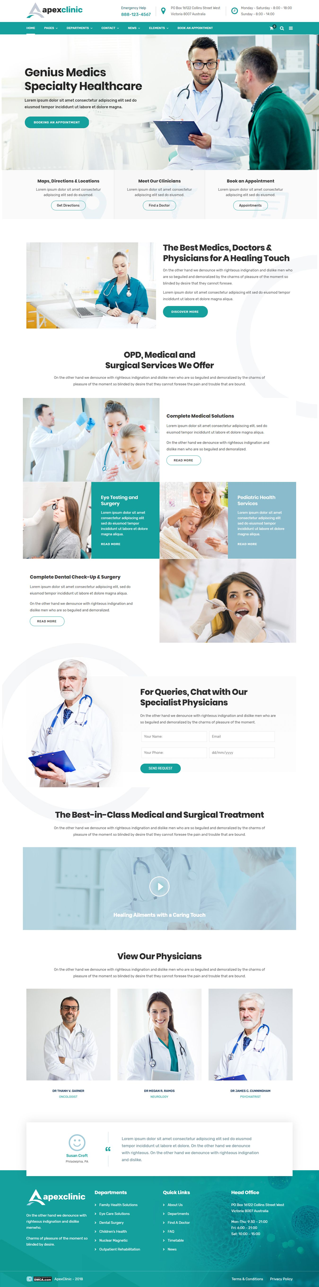 Apexclinic health clinic theme medical website