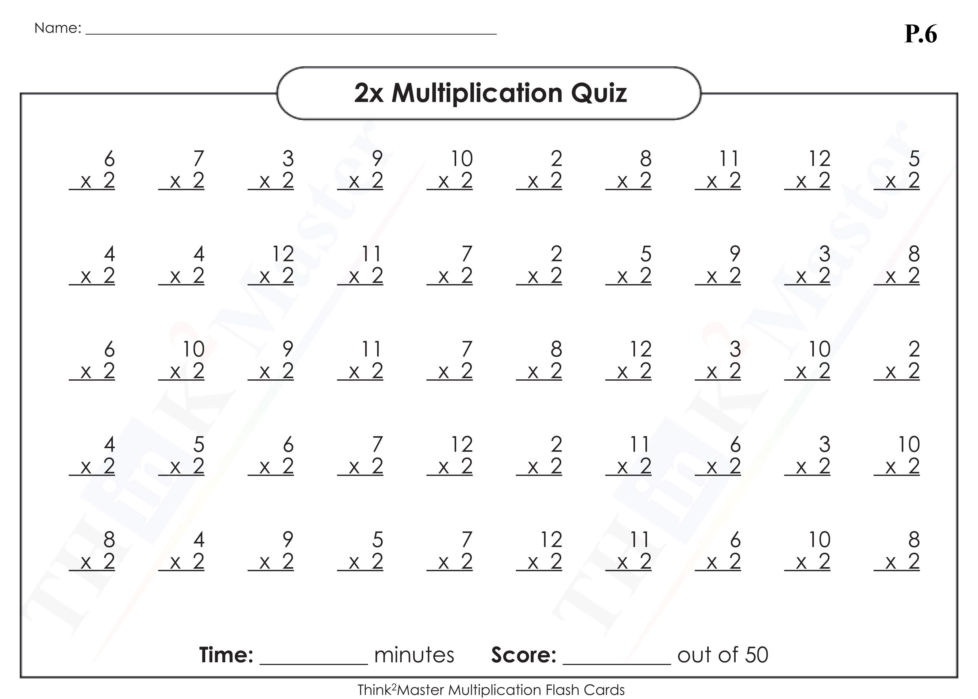 Free Printable 2x Multiplication Worksheet