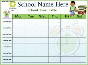 Class Timetable Template Free  School    Template