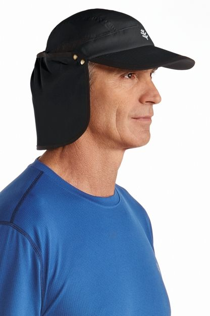 "4ba8f561e14e3 This SPF Running Cap affords true grab and go protection. Featuring a broad  3 1 4 "" brim and a removable neck drape plus mesh ventilation inserts top  keep ..."